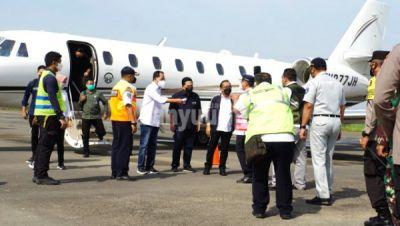 Bupati Blora Sambut Mensesneg dan Menhub serta Menteri BUMN saat mendarat di Bandara Ngloram